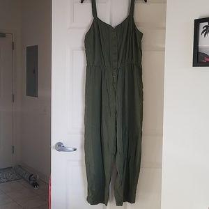MODCLOTH Olive cotton linen jumpsuit